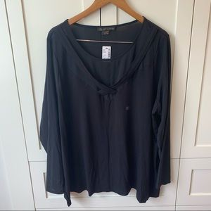 L&L Black long-sleeve blouse with mesh
